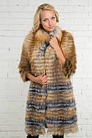 Шуба из натурального меха чернобурки и лисы в роспуск. Длина 90 см