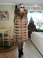 Меховый жилет из натурального финского енота с капюшоном. Длина 90 см