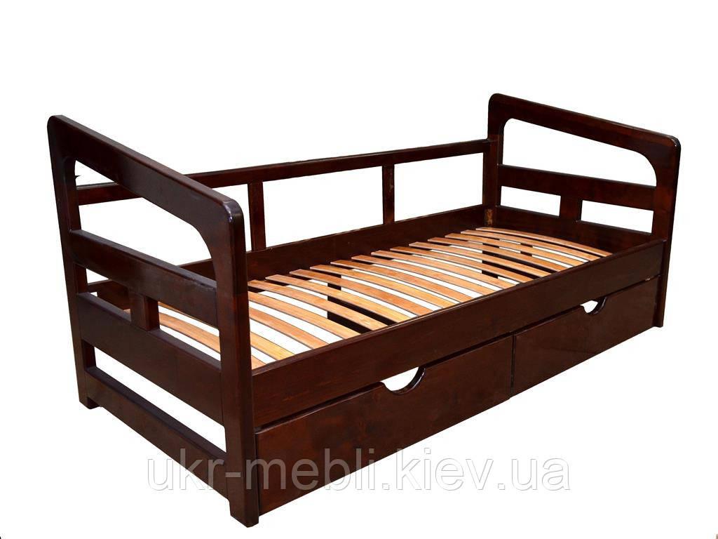 Ліжко дерев'яне односпальне Ліра, з ящиками