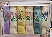 Набір кухонних рушників Вафельних «Квіти »Туреччина 6 штук