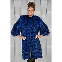 Синяя шуба-пальто из натурального меха чернобурки на коже. Длина 100 см