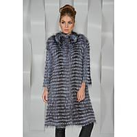 Меховое пальто из чернобурки в роспуск на коже. Длина 100 см