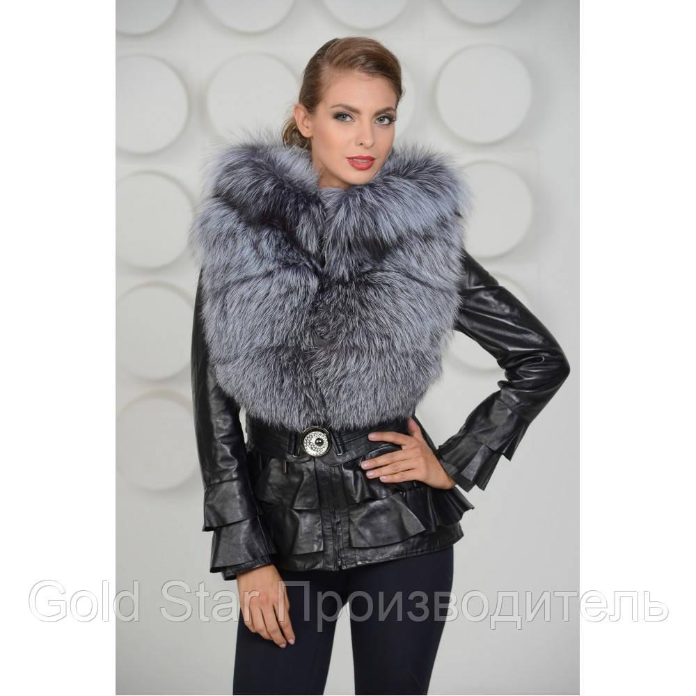 fc7439c795e Кожаная куртка с чернобуркой и капюшоном  продажа