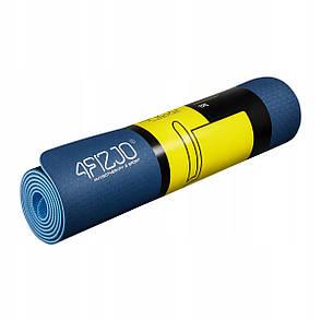 Килимок мат для йоги та фітнесу 4FIZJO TPE 6 мм 4FJ0033 Blue/Sky Blue, фото 2