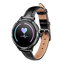 Розумні годинник фітнес-браслет Lemfo Fashion M9 leather з вимірюванням тиску Чорний (ftlemfasm9lebl)