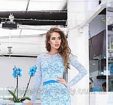 Нежно голубая кружевная кофта с длинным рукавом