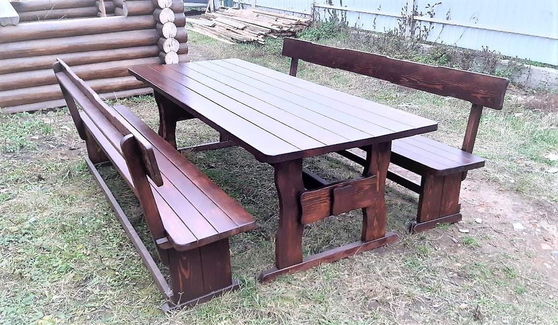 Мебель деревянная. Комплект стол 2500х1000 + 2 лавки. Покрытие итальянский масло-воск от производителя