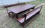 Мебель деревянная. Комплект стол 2500х1000 + 2 лавки. Покрытие итальянский масло-воск от производителя, фото 8