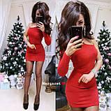 Короткое нарядное платье c люрексом на один рукавчик, 2 цвета, фото 2