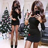 Короткое нарядное платье c люрексом на один рукавчик, 2 цвета, фото 4