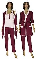 Пижама женская с брюками и халат 19016 Mindal Light коттон  Бордовый