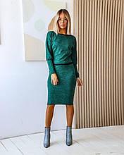 Ангоровый костюм (48-52): кофта декорирована кружевной тесьмой + юбка миди, 9 цветов