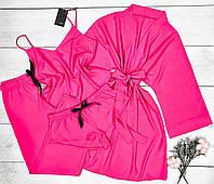 Модний малиновий комплект. Майка+шорти+штани і халат кімоно.