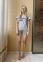 Пижама женская футболка и шорты клетка ASMA