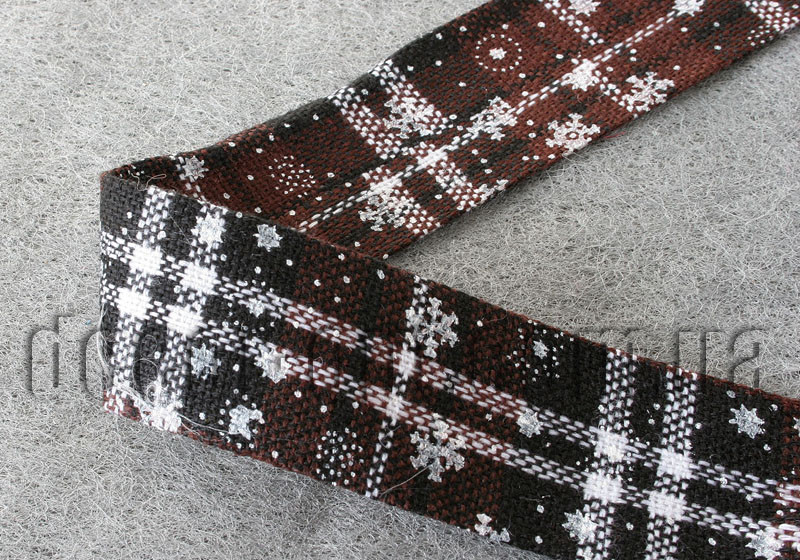 Лента тканевая шерс.коричневая 4см/1м