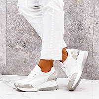 Белые кроссовки на танкетке пром