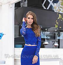 Кружевная кофта из набивного гипюра с фестоном, синяя