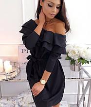 Женское платье с воланами из костюмки Барби, (40-46), цвет - черный