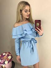 Женское платье с воланами из костюмки Барби, (40-46), цвет - голубой