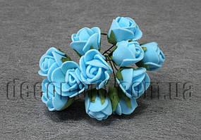 Букет голубых розочек из латекса 1,5-2 см