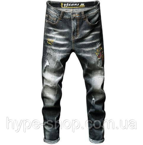 Джинси чоловічі стильні завужені джинси, розміри 29,30,31,32,33,34