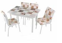 Комплект кухонный Mermer/Мрамор обеденный стол и мягкие стулья 4шт Mobilgen