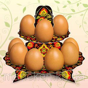 "Декоративная подставка для яиц №12 ""Хохлома"" (12 яиц) высокая (1 шт), фото 2"