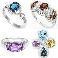 Серебряные кольца с натуральными камнями