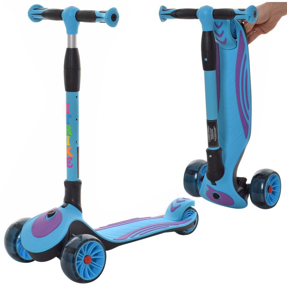 Самокат детский трехколесный складной для мальчиков Синий SPORT KIDS 2588 со светящимися колесами с фиолетовым