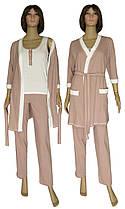 Пижама женская с брюками и халат 19016 Mindal Light коттон Пудровый