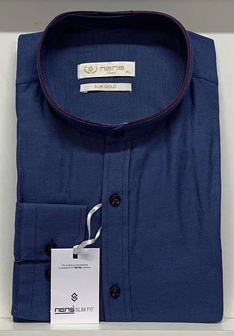 Чоловіча приталена сорочка Nens оксфорд/стійка, фото 2