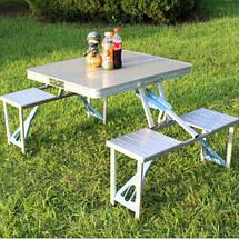 Стіл розкладний для пікніка з 4 стільцями, столик туристичний алюмінієвий, фото 3
