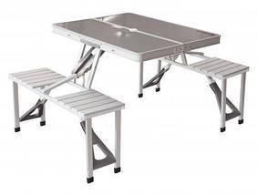 Стіл розкладний для пікніка з 4 стільцями, столик туристичний алюмінієвий, фото 2