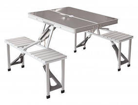 Стол раскладной для пикника с 4 стульями, столик туристический алюминиевый, фото 2