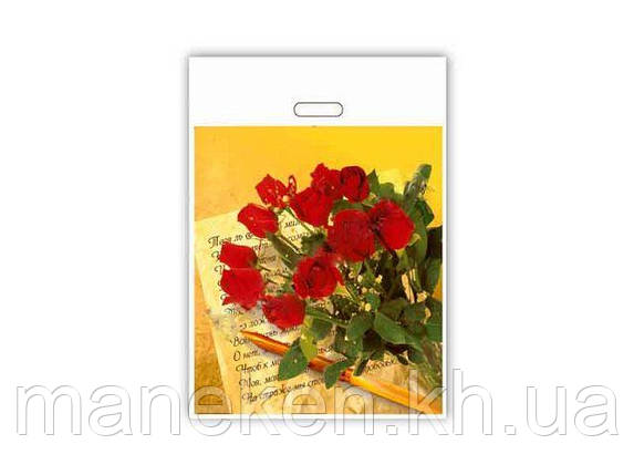 """Пакети з вирубний ручкою(42*50+3)""""Троянди"""" ХВГ (25 шт), фото 2"""
