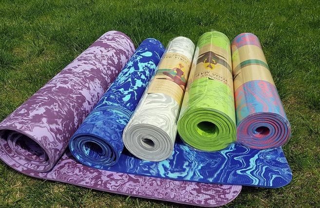Коврик для йоги и фитнеса Yaga Mat мрамор 6 мм, синий с чехлом, фото 2