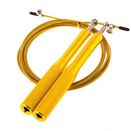 Фітнес скакалка для кроссфита, фітнесу Cima 3м, ручка алюміній, колір жовтий, червоний, синій, фото 2