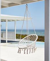"""Подвесной гамак сидячий """"Macrame"""", ширина 82 см, до 100 кг, Белый кремовый с подушкой, фото 2"""