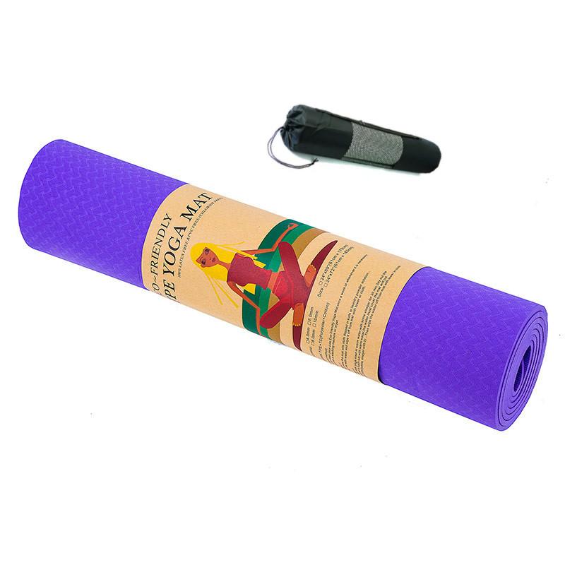 Килимок для йоги та фітнесу 6 мм Оригінал TPE+TC, одношаровий + Подарунок. Темно-фіолетовий килимок