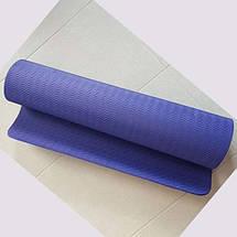 Килимок для йоги та фітнесу 6 мм Оригінал TPE+TC, одношаровий + Подарунок. Темно-фіолетовий килимок, фото 2