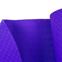 Килимок для йоги та фітнесу 6 мм Оригінал TPE+TC, одношаровий + Подарунок. Темно-фіолетовий килимок, фото 3
