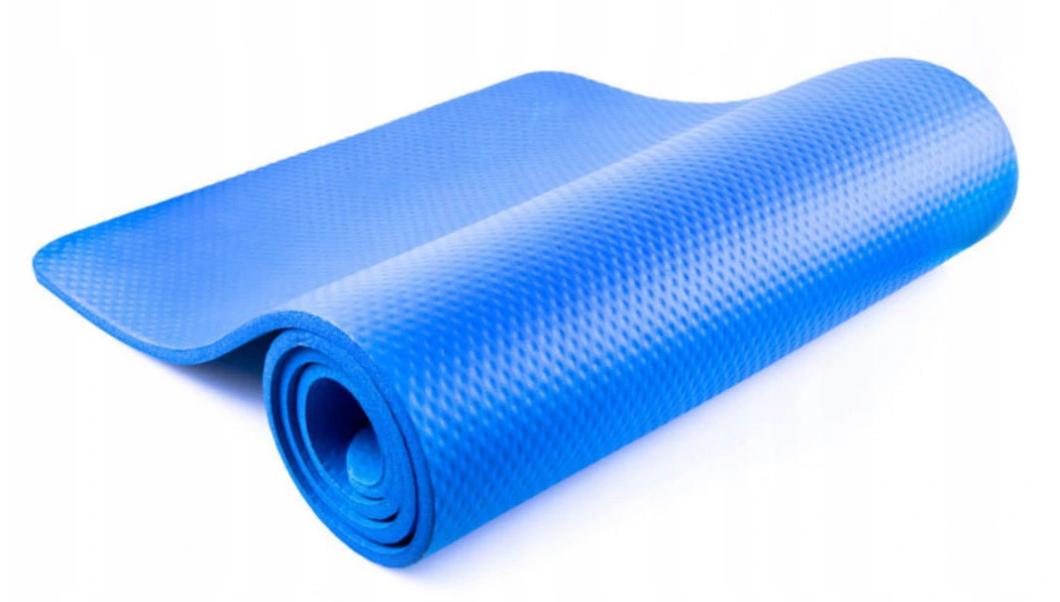 Коврик фитнес для йоги 6 мм, однослойный, 1730x750x6 мм, Оригинал TPE+TC + Подарок резинка
