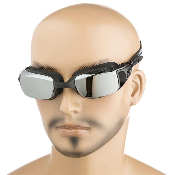 Очки для подводного плавания Dolvor, зеркалка, нос гибкий, цвета черный, синий