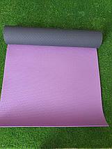 Килимок для йоги та фітнесу 6 мм TPE+TC, Profi двошаровий, колір сіро-фіолетовий + чохол, фото 2