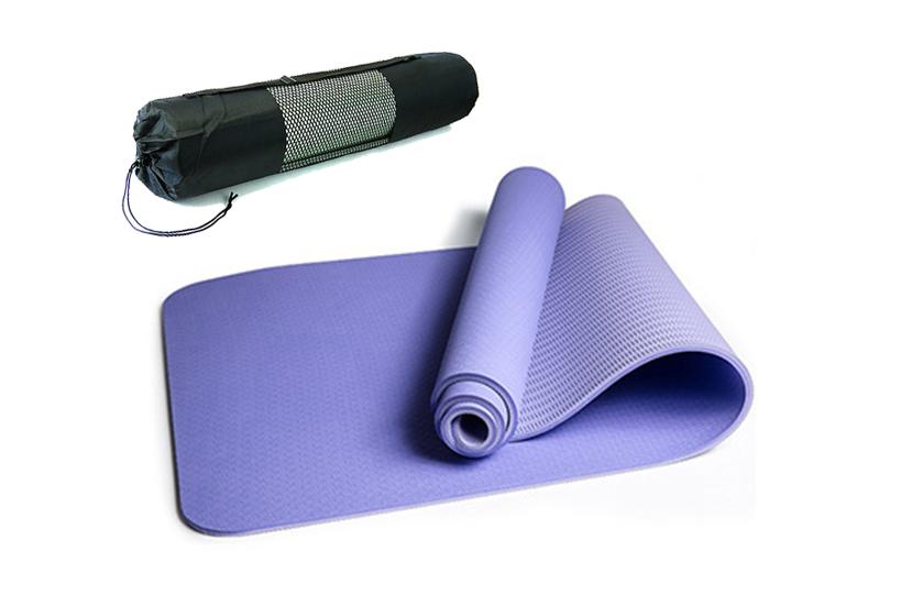 Коврик для йоги и фитнеса 6 мм Оригинал TPE+TC, двухслойный+ ЧЕХОЛ в Подарок!