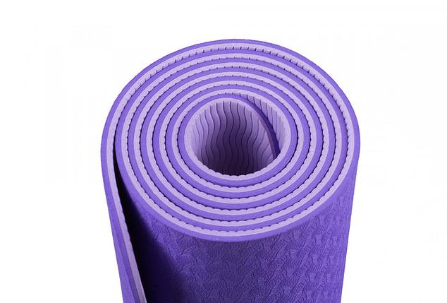 Коврик для йоги и фитнеса 6 мм Оригинал TPE+TC, двухслойный+ ЧЕХОЛ в Подарок!, фото 2