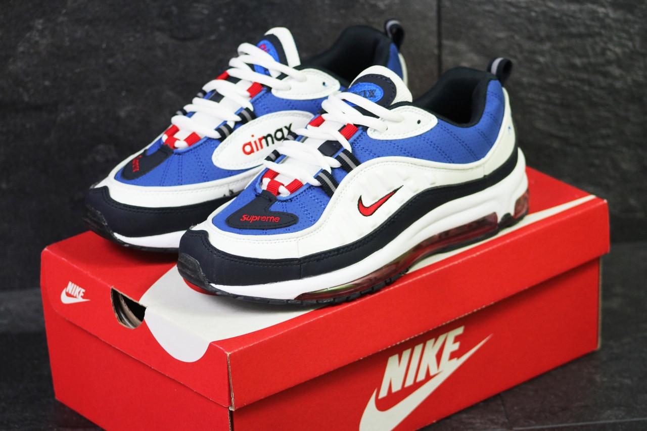 Кроссовки мужские демисезонные Nike Air Max 98 x Supreme белый с синим