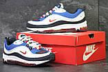Кроссовки мужские демисезонные Nike Air Max 98 x Supreme белый с синим, фото 3