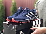 Мужские летние кроссовки Adidas Marathon, сетка темно синие, фото 2
