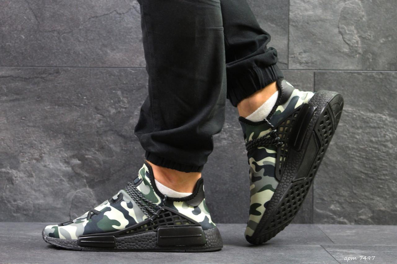 Мужские кроссовки Adidas NMD Human RACE, летние кроссовки Адидас милитари